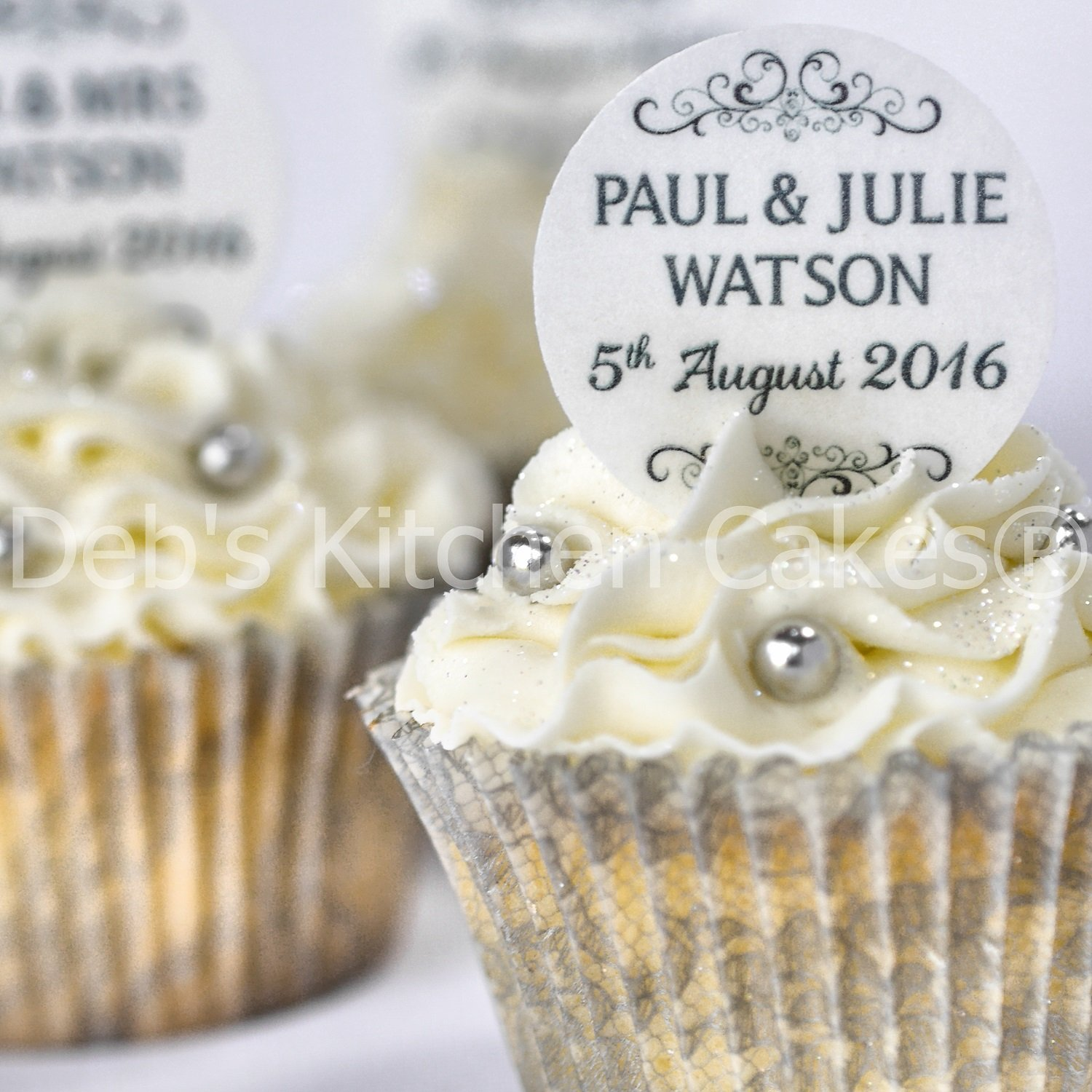 Personalised Wedding Cupcake Toppers - Black and White Wedding Cake ...