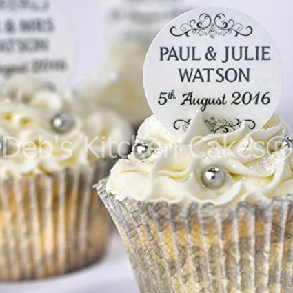 Personalised Wedding Cupcake Toppers Black And White Wedding Cake