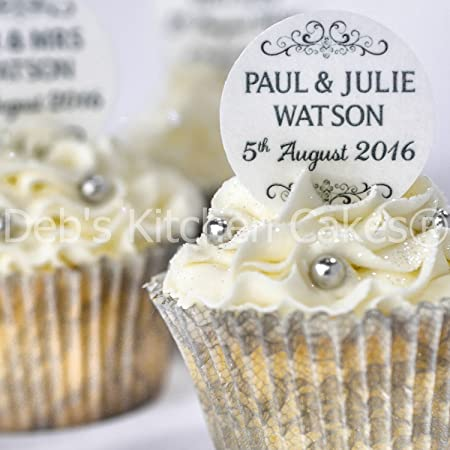 Personalised wedding cupcake toppers black and white wedding cake personalised wedding cupcake toppers black and white wedding cake decorations edible wafer or edible junglespirit Choice Image