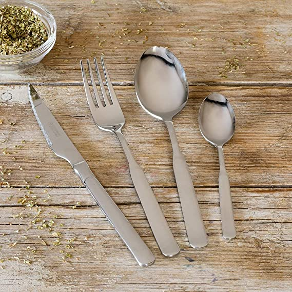 Monix Milán - Set de cubiertos 49 piezas, cubiertos de acero inox 18/10 con cuchillo normal y estuche estilo Nogal: Amazon.es: Hogar