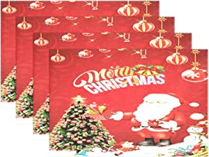 Christmas Santa Holiday Tree Place Mats Tablemats Set of 6, New Year Winter Snowman Washable Fabric Holiday Placemats for Kids Dining Room Kitchen Table Decoration Home Decor 12x18 inch