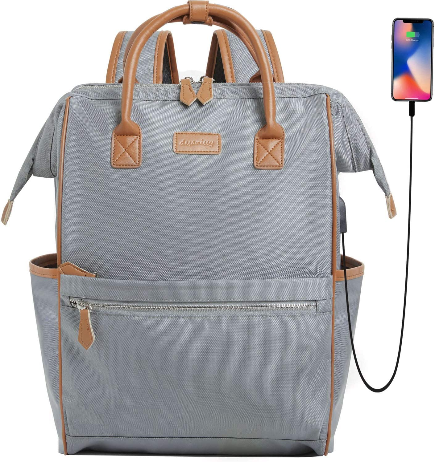 Desanissy Adult Backpack Women Top Open Backpack Laptop Backpack for Women 15.6 Inch Waterproof Nylon Travel Backpack with USB Port Suitable for Nursing Bags/Work Backpack/College Backpack