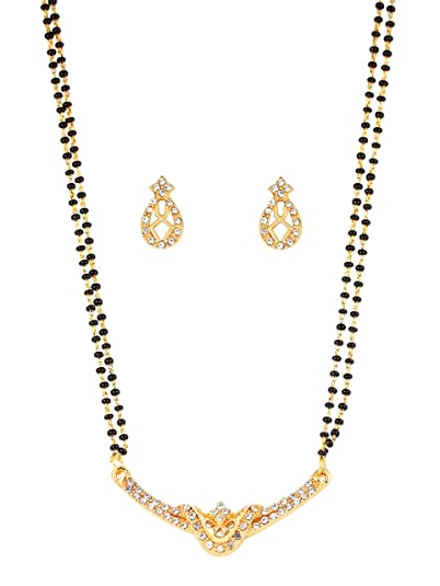Touchstone Alloy Metal White Crystals Black Beads Mangalsutra In Gold Tone For Women <span at amazon