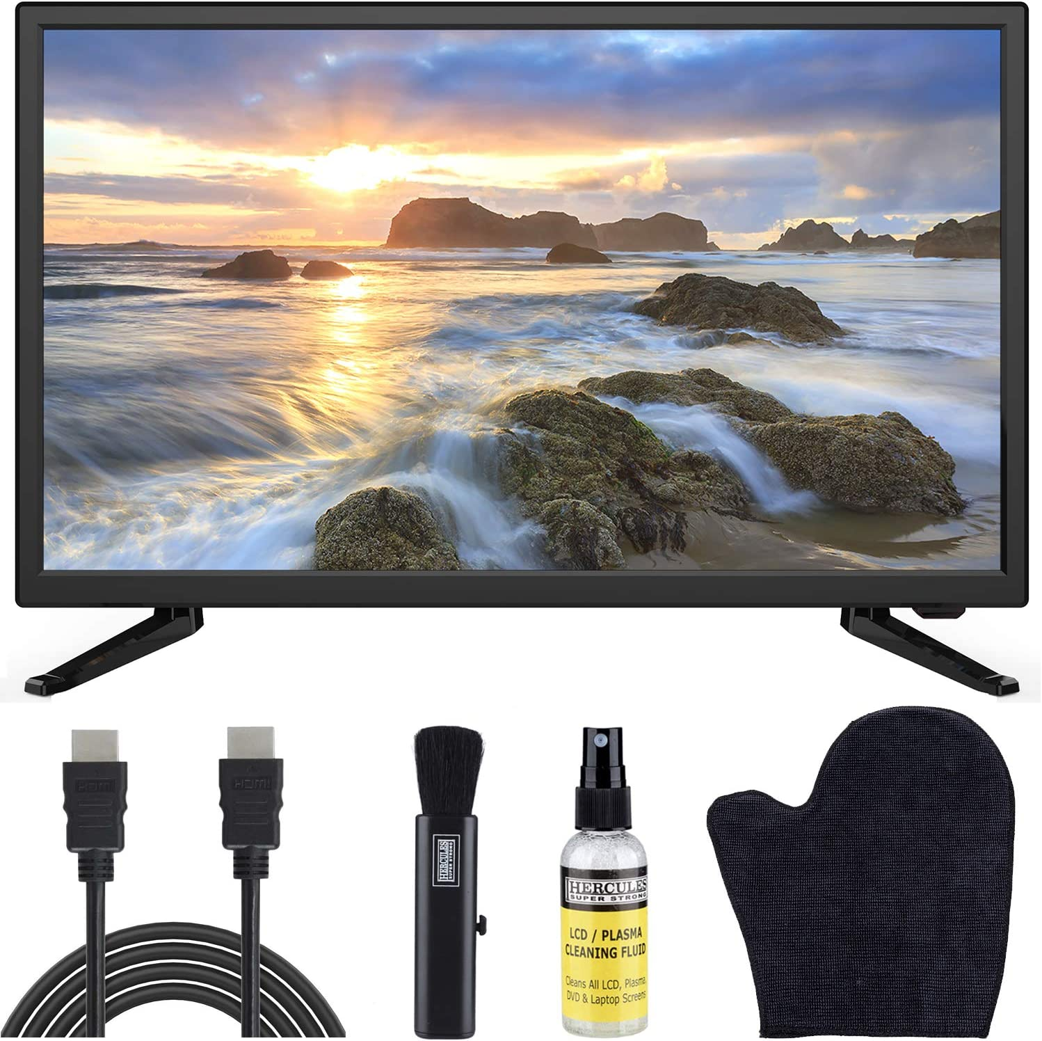 Sansui 24-Inch 720p HD LED Smart TV (S24P28DN) with Built-in HDMI, USB, High Resolution, Digital Noise Reduction, Dolby Audio Bundle with 6.5 ft HDMI Cable and LCD Screen Cleaning Kit