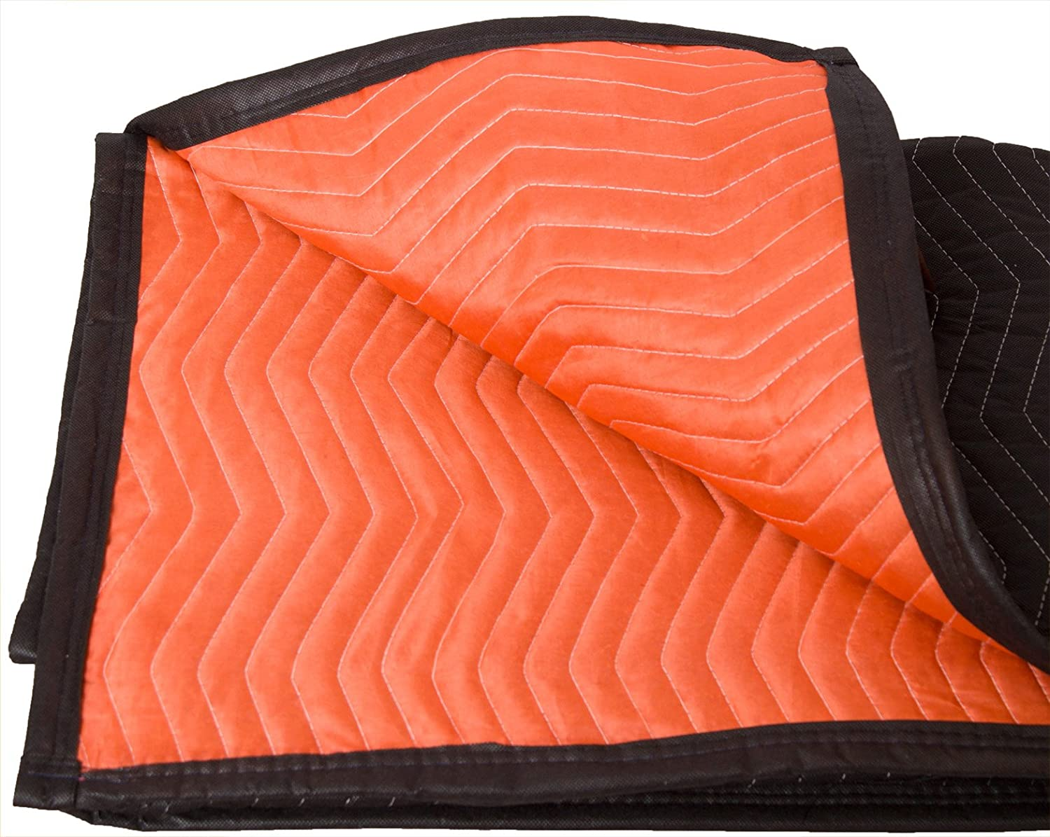 "Forearm Forklift FFMB Full Size Medium Weight Quilted Moving Blanket (45.6 lb/dz), 72"" x 80"", Blaze Orange/Black"
