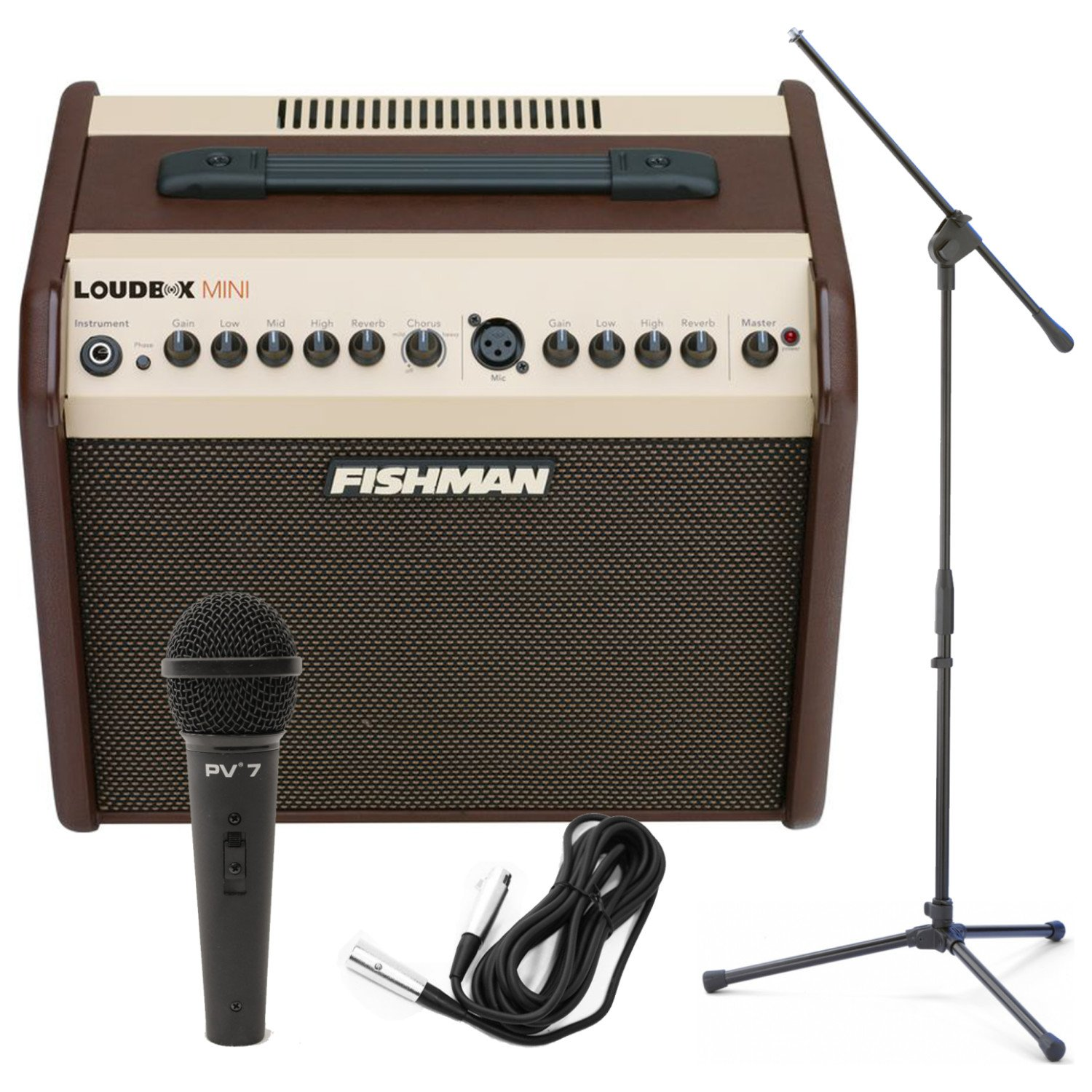 Fishman Loudbox Mini 60Watt Two Channel Acoustic Amp w/ Dynamic Microphone, Cable, and Boom Stand! by Fishman