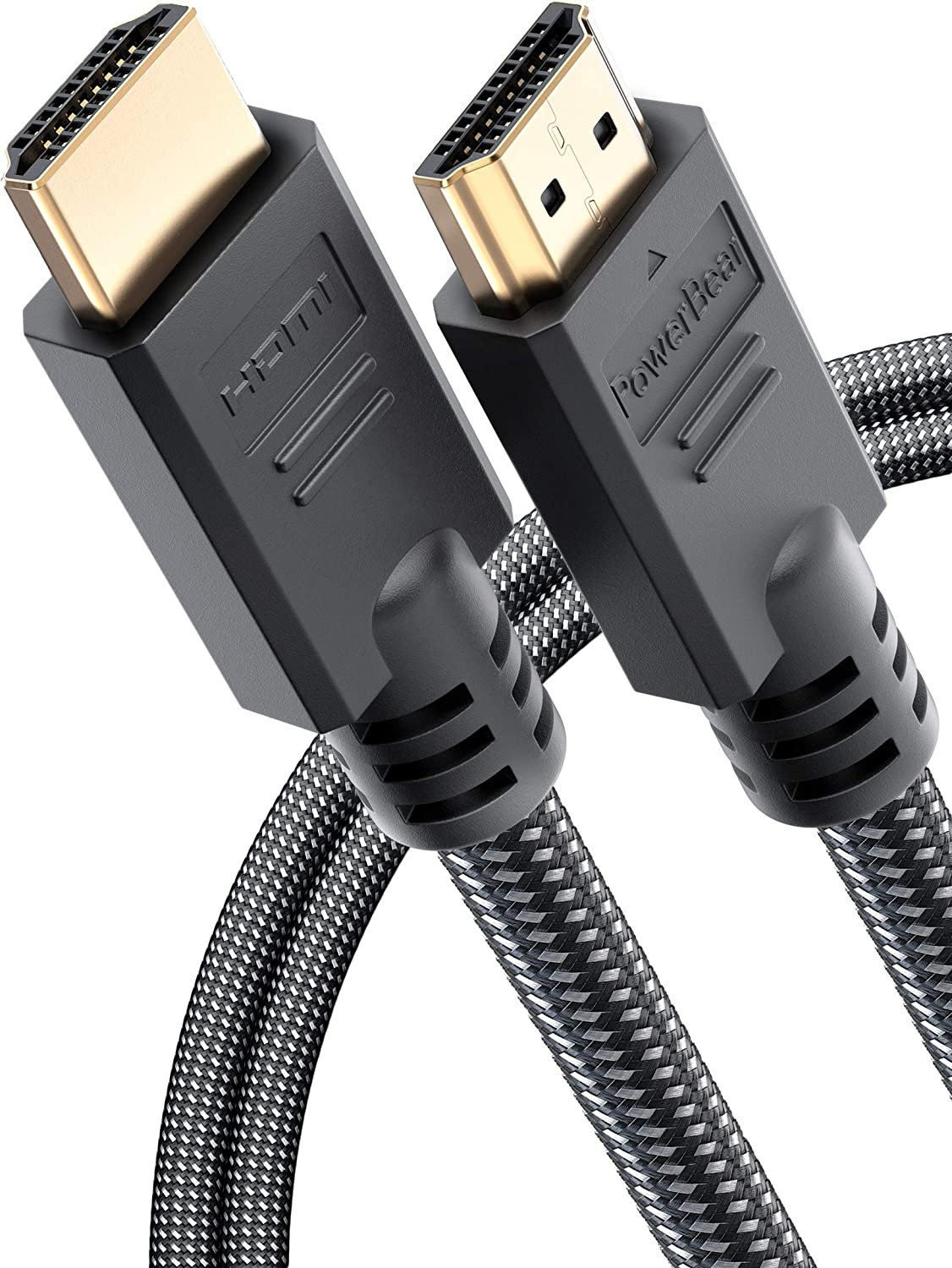 PowerBear 4K HDMI Cable 6 ft | High Speed, Braided Nylon & Gold Connectors, 4K @ 60Hz, Ultra HD, 2K, 1080P, Dolby & ARC Compatible | for Laptop, Monitor, PS5, PS4, Xbox One, Fire TV, Apple TV & More