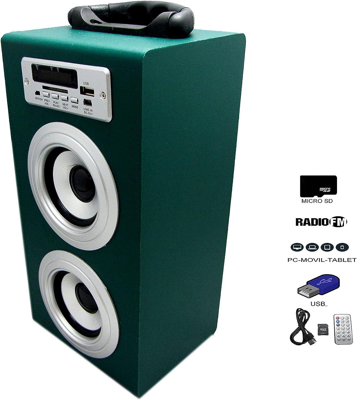 Altavoz Caja Portátil Con Radio, MicroSD y USB: Amazon.es: Electrónica