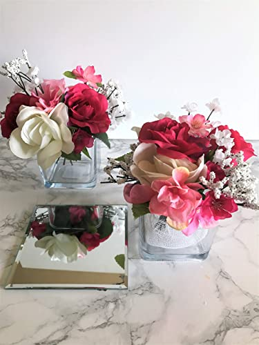 set of 5 wedding table centre piecesbridal shower decorationsglass vase with red
