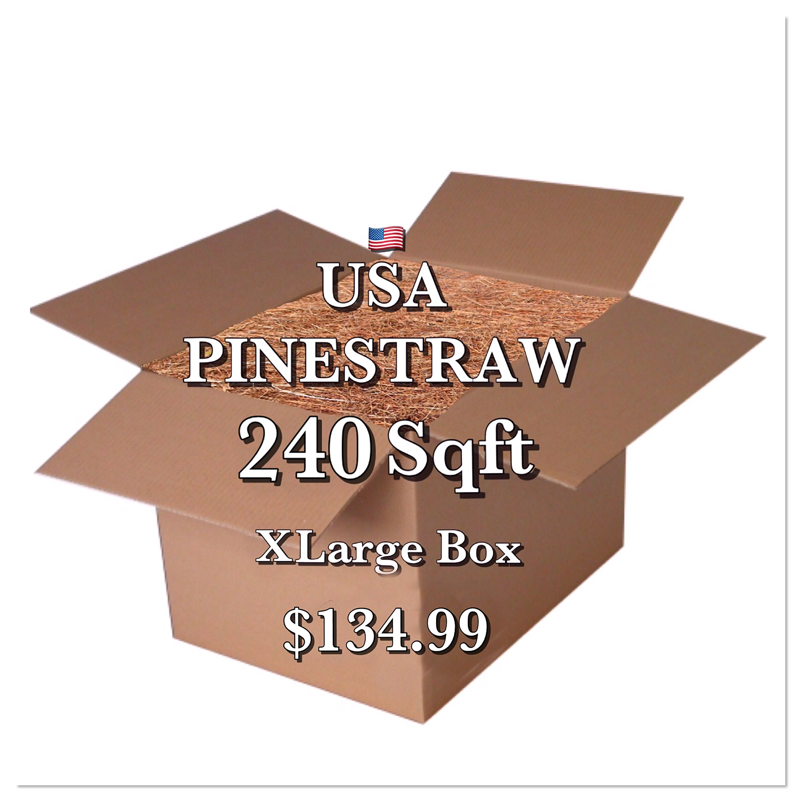 Pine Straw Mulch - 14 '' Premium Long Needle - 240 Sqft - New Bigger Box