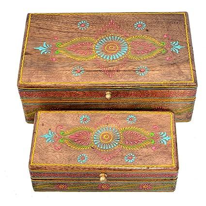 Jaipur - Juego de 2 Cajas Decorativas de Madera pintadas a Mano