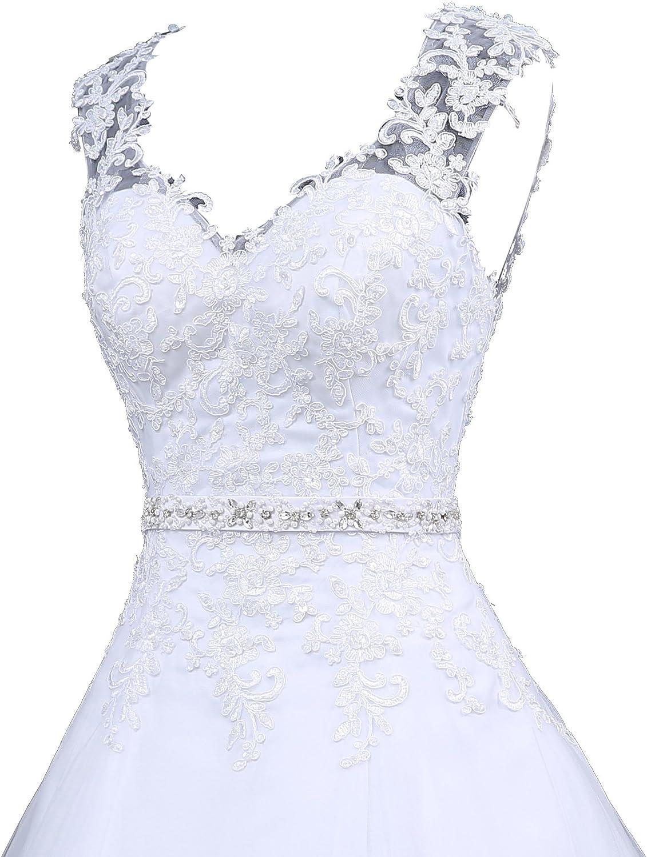 Romantic-Fashion Brautkleid Hochzeitskleid Wei/ß Modell W048 A-Linie Satin Perlen Pailletten Strass DE