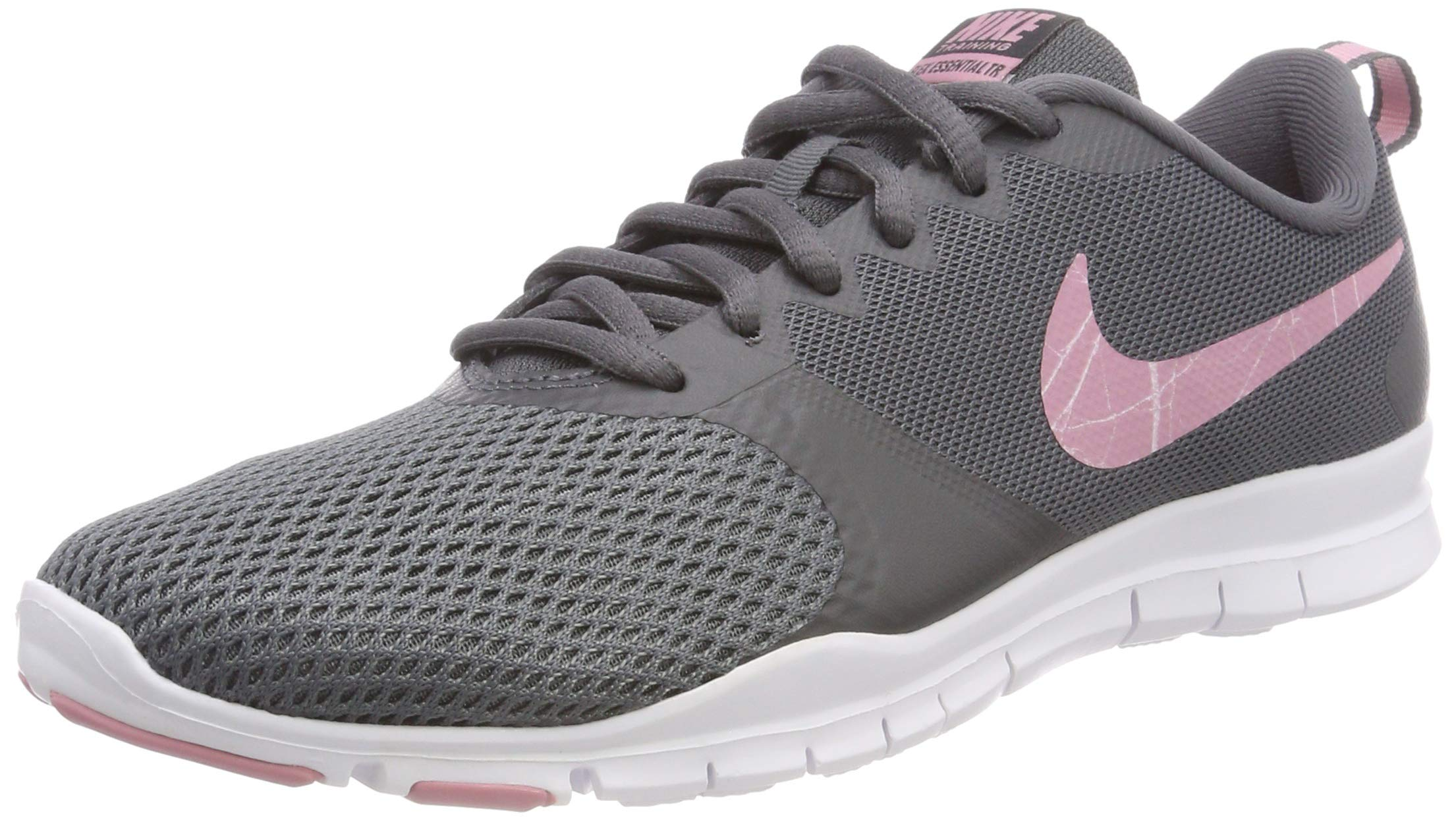 Nike Womens Flex Essential Tr Training Shoes (7 B(M) US, Dark Grey/Elemental Pink)