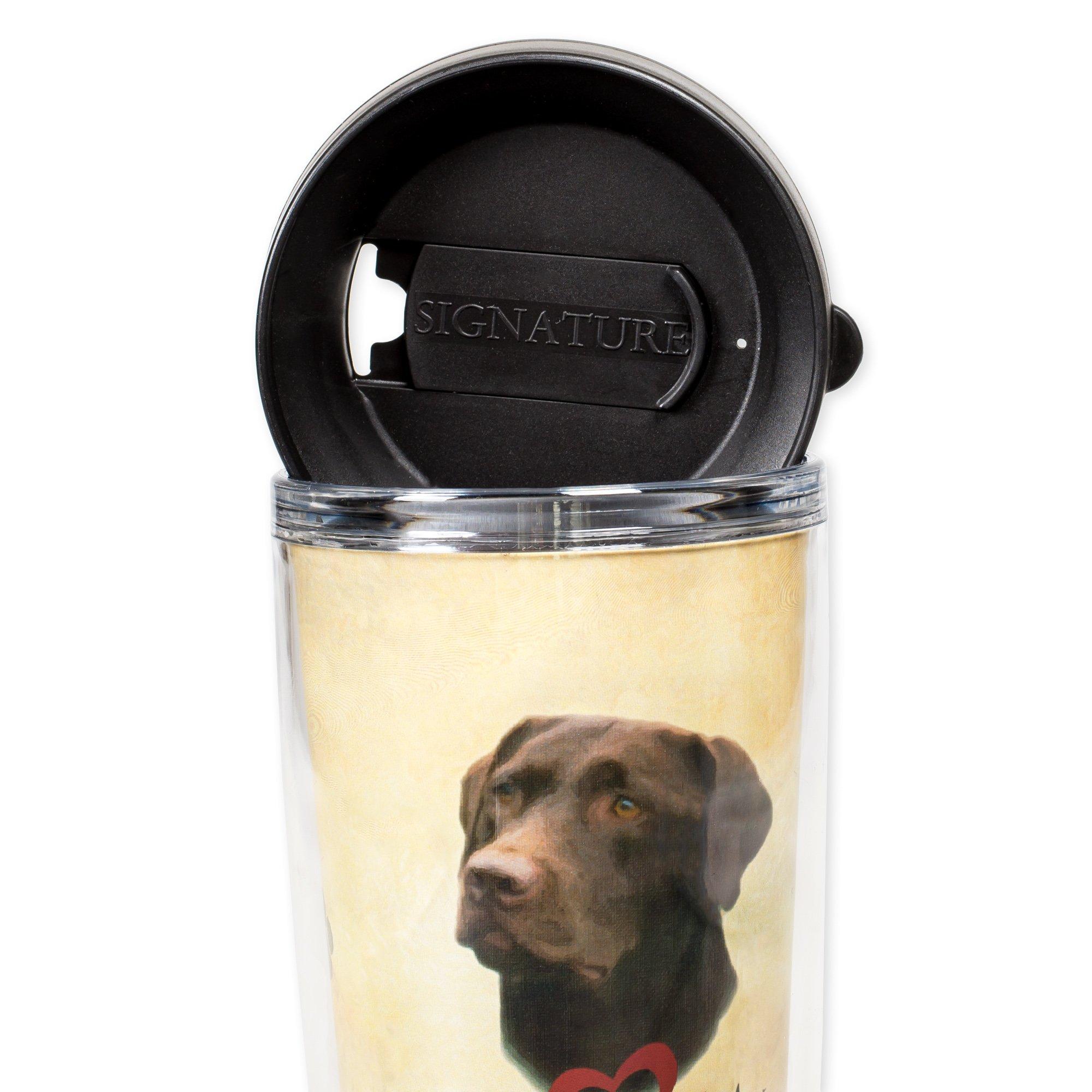 I Love My Chocolate Lab Dog Paws 16 Oz Tumbler Mug with Lid by Signature Tumblers (Image #3)
