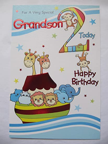 WONDERFUL FOR A VERY SPECIAL GRANDSON 2 TODAY 2ND BIRTHDAY GREETING CARD Amazoncouk Kitchen Home