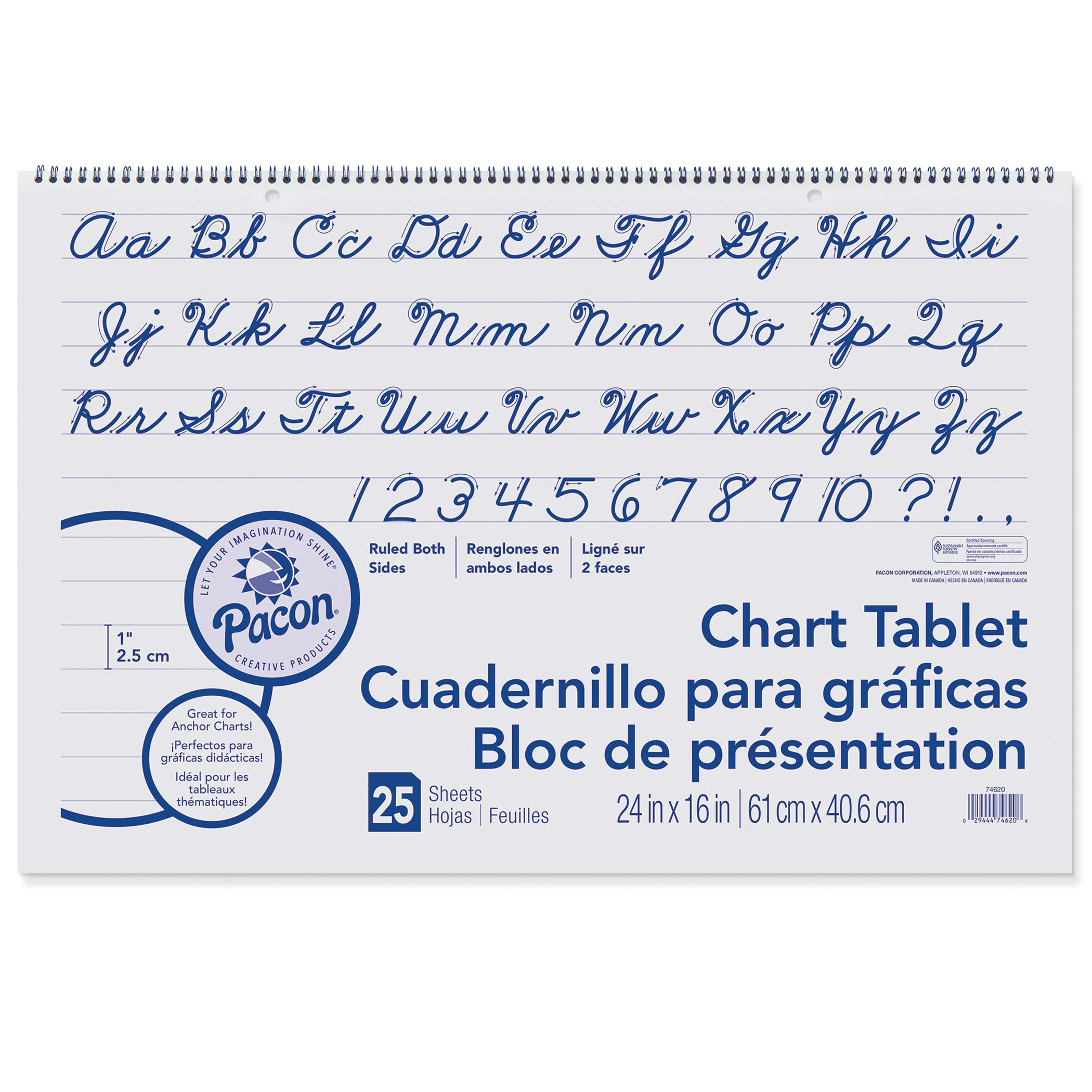 Pacon PAC74620BN Chart Tablet, Cursive Cover, 1'' Ruled, 24'' x 16'', 25 Sheets, Pack of 6
