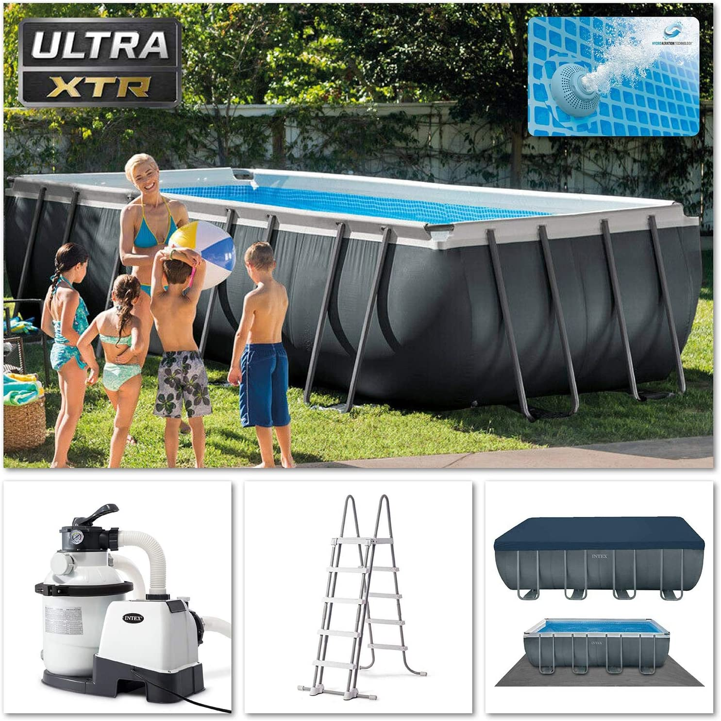 Intex 18Ft X 9Ft X 52In Ultra XTR Rectangular Pool Set: Amazon.es ...