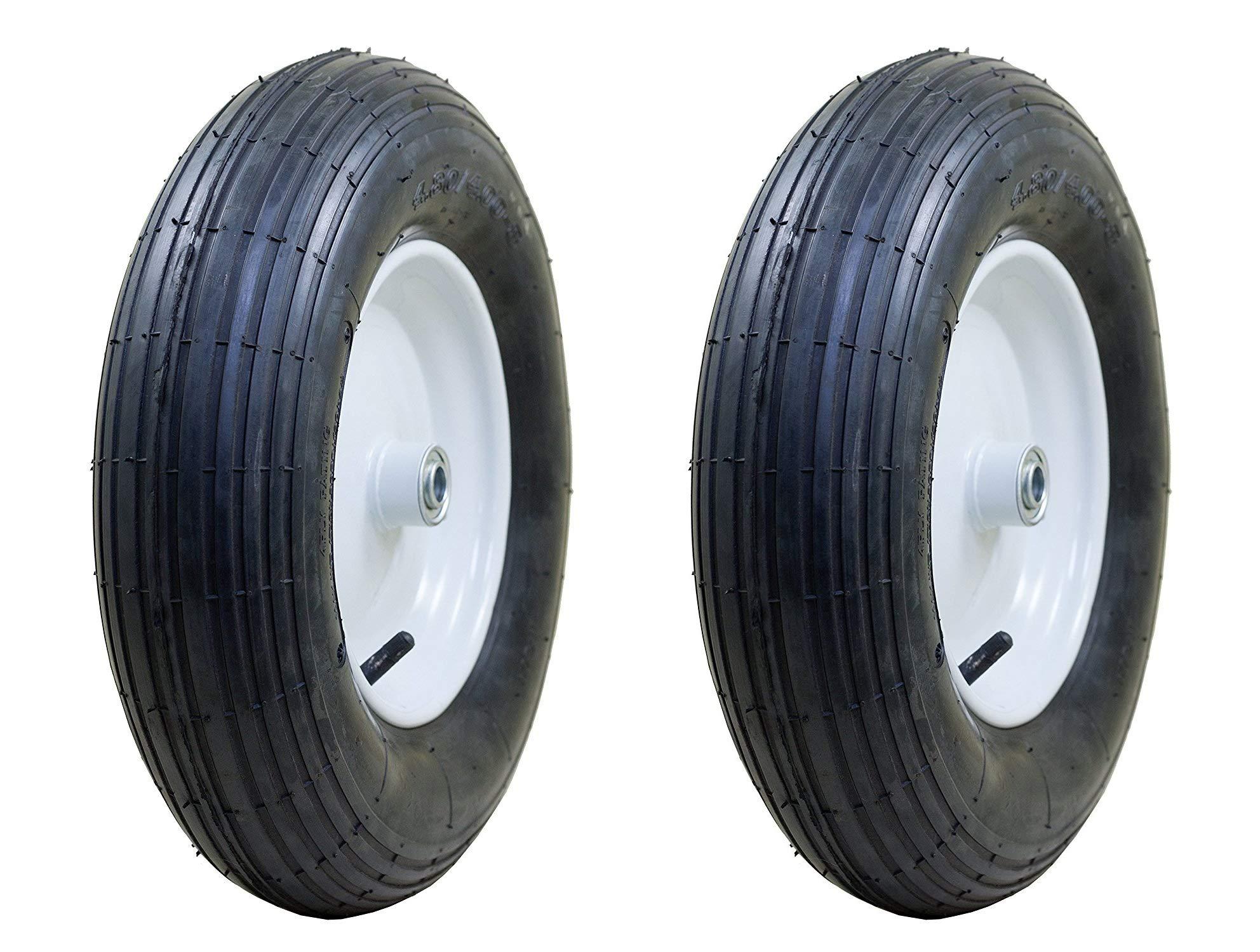 Marathon 4.80/4.00-8'' Pneumatic (Air Filled) Tire on Wheel, 3'' Hub, 3/4'' Bearings, Ribbed Tread (Pack of 2) by Marathon Industries