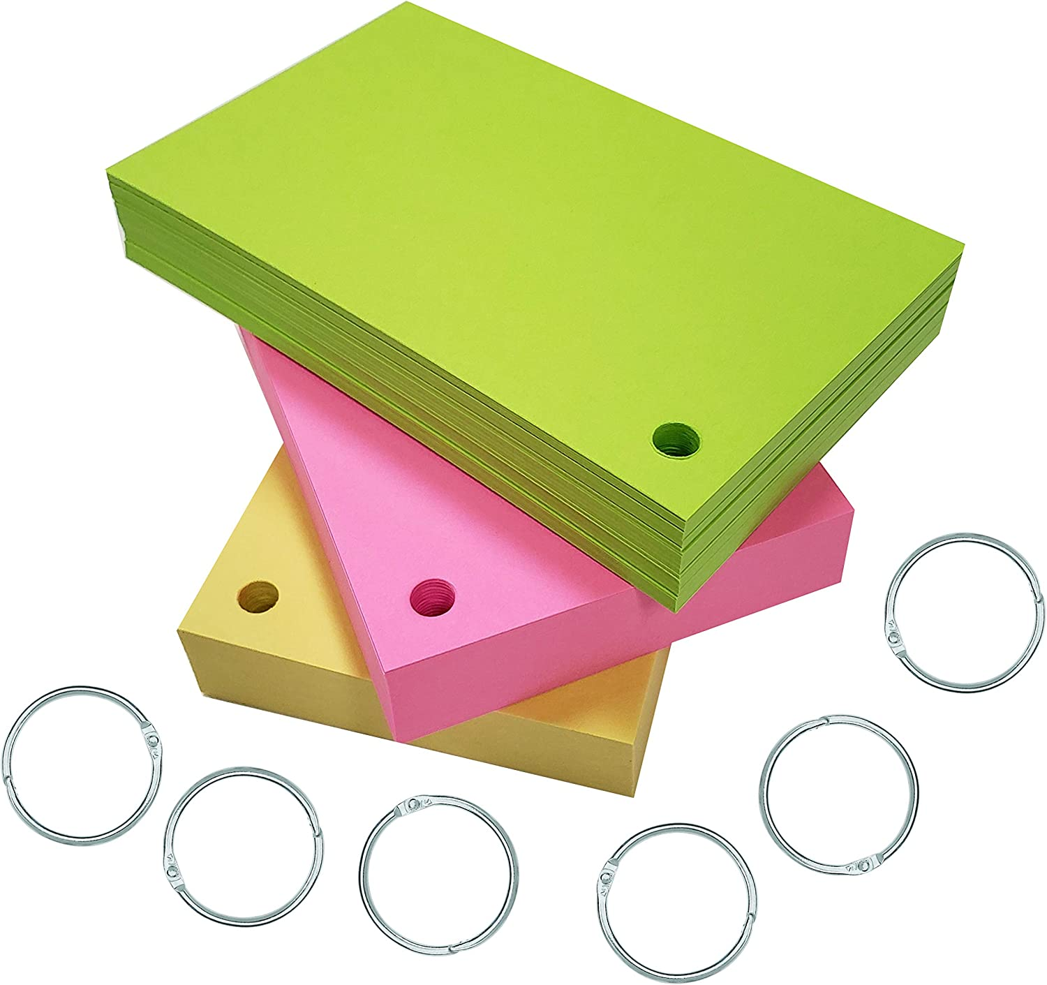 Debra Dale Designs - 3 X 5 Inch Index Cards - Premium Smooth Extra Heavy 100# Cardstock - 50 Each of 3 Astrobright Colors - Hole Punched with 6 Rings - 270 GSM - Great for Studying & Note Taking