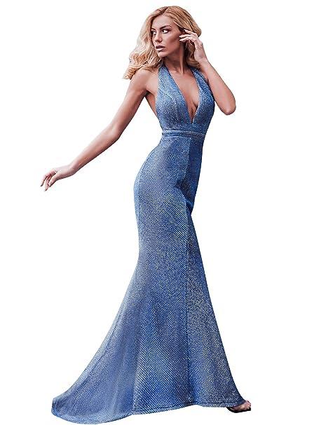 bd1ee2634e Ever-Pretty Vestido de Fiesta Noche Largo y Tren para Mujer Sirena Escote  en V Brillante Espalda Descubierta 07846  Amazon.es  Ropa y accesorios