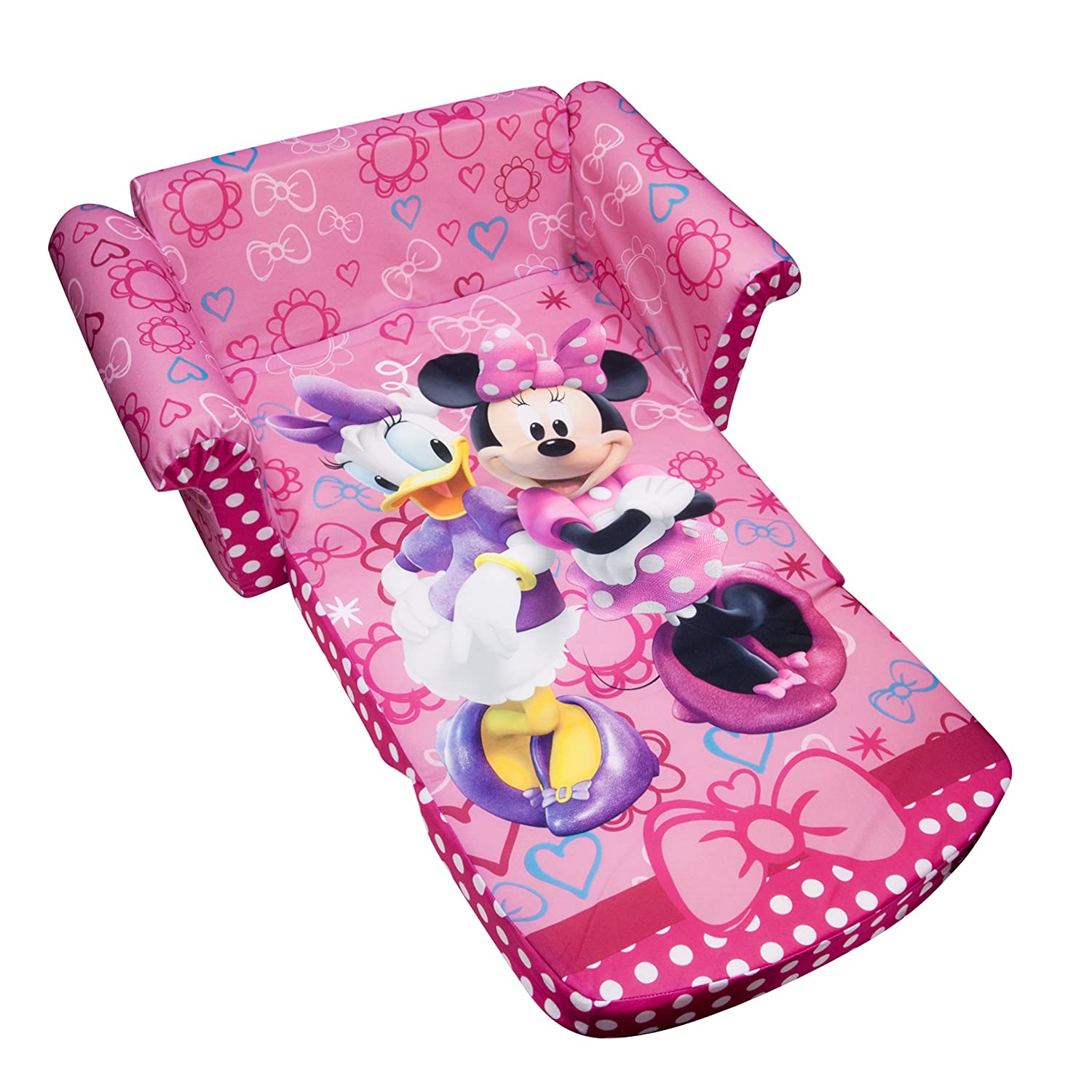 Marshmallow Furniture, Children's 2 in 1 Flip Open Foam Sofa, Disney Minnie's Bow-tique, by Spin Master