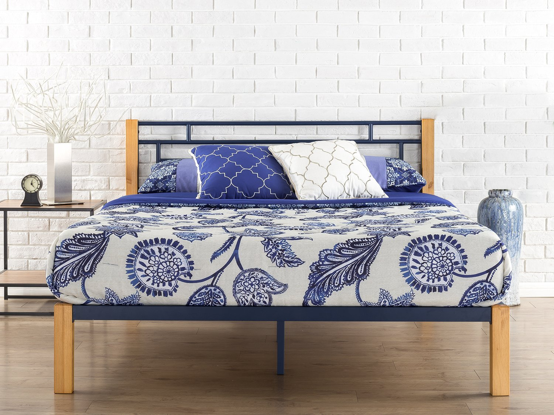 Zinus Taylan Metal and Wood Platform Bed / Mattress Foundation / Wood Slat Support, Queen