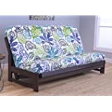 Raw Futons Colorado Reclaim Mocha Frame and Mattress Set w/Choice of Fabrics, 7 Inch Innerspring Futon Sofa Bed Full Size Aspen Style (Frame w/Bali)