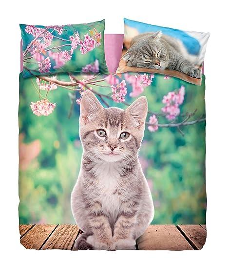 Copripiumino Piazza E Mezza Bassetti.Completo Copripiumino Nice Cats Una Piazza E Mezza Gattino Imagine