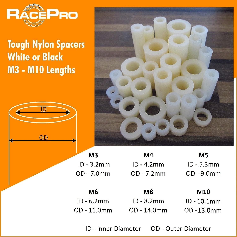 Racepro 10x Wei/ß Tough Nylon Kunststoff-Abstandhalter Standoff Unterlegscheiben M6 25mm