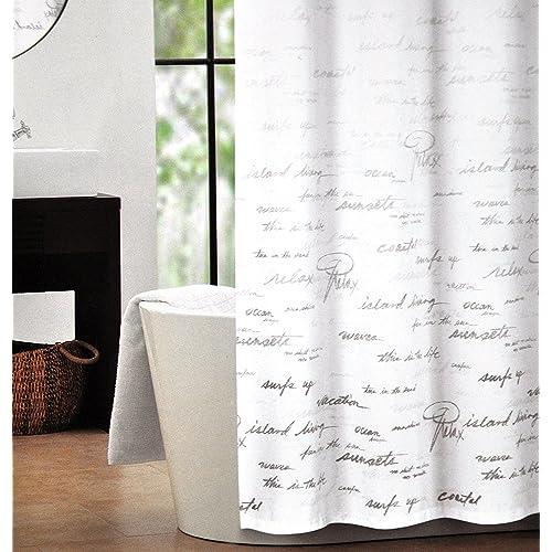 Tahari Fabric Shower Curtain Gray Words Writing On White Script