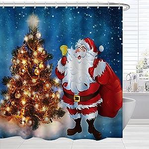 BROSHAN Blue Christmas Shower Curtain Set , Merry Xmas Tree Ornaments Santa Claus on Starry Night Bath Fabric Curtain, Holiday Fabric Bathroom Decor Set with Hooks, 72 x 72