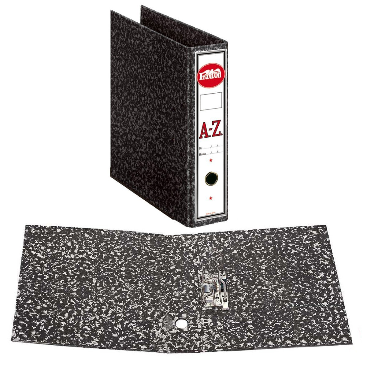 Archivador A-Z PRAXTON Negro Jaspedado, Din-A4 75 mm.: Amazon.es: Oficina y papelería