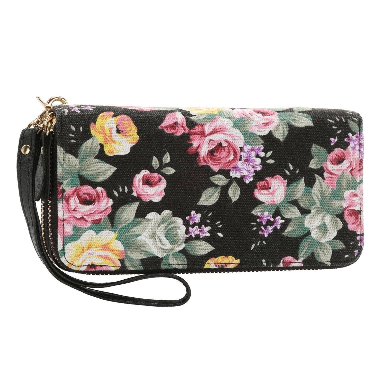 Women Floral Wallet Zipper Canvas Purse Long Clutch Bag Flower with Coin Pocket and Strap (Large, Black Floral)