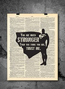 Superman - Stronger Inspirational Quote Art - Authentic Upcycled Dictionary Art Print - Home or Office Decor (D49)