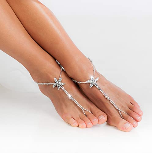 fc7bdcef50e42 Asteria Beach wedding barefoot sandals Bridal foot jewelry Starfish barefoot  sandals Bridal shoes Footless sandals White Anklet Bohemian Toe ring Indian  ...