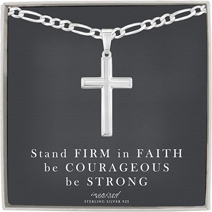 """Details about  /925 Sterling Silver Cross   24/""""Necklace Chain Figaro Pendant  Men/'s Women/'s"""