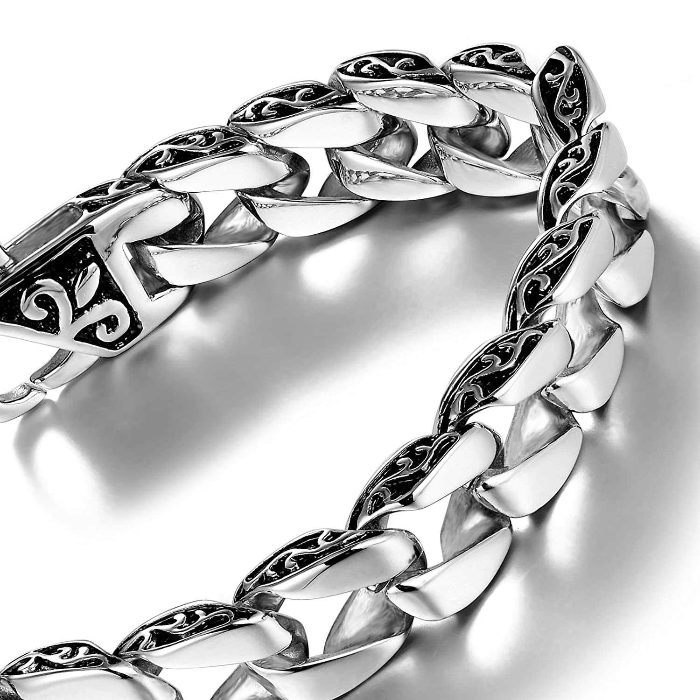 Urban Jewelry Beautiful Fleur De Lis Stainless Steel Link Bracelet for men (Silver, 8.5 Inches) AC1387