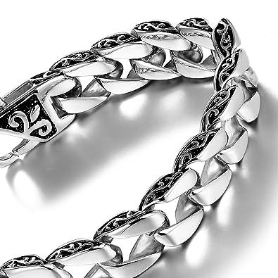 3349839f2c163 Urban Jewelry - Bracelet à maillons en acier inoxydable avec fleur ...