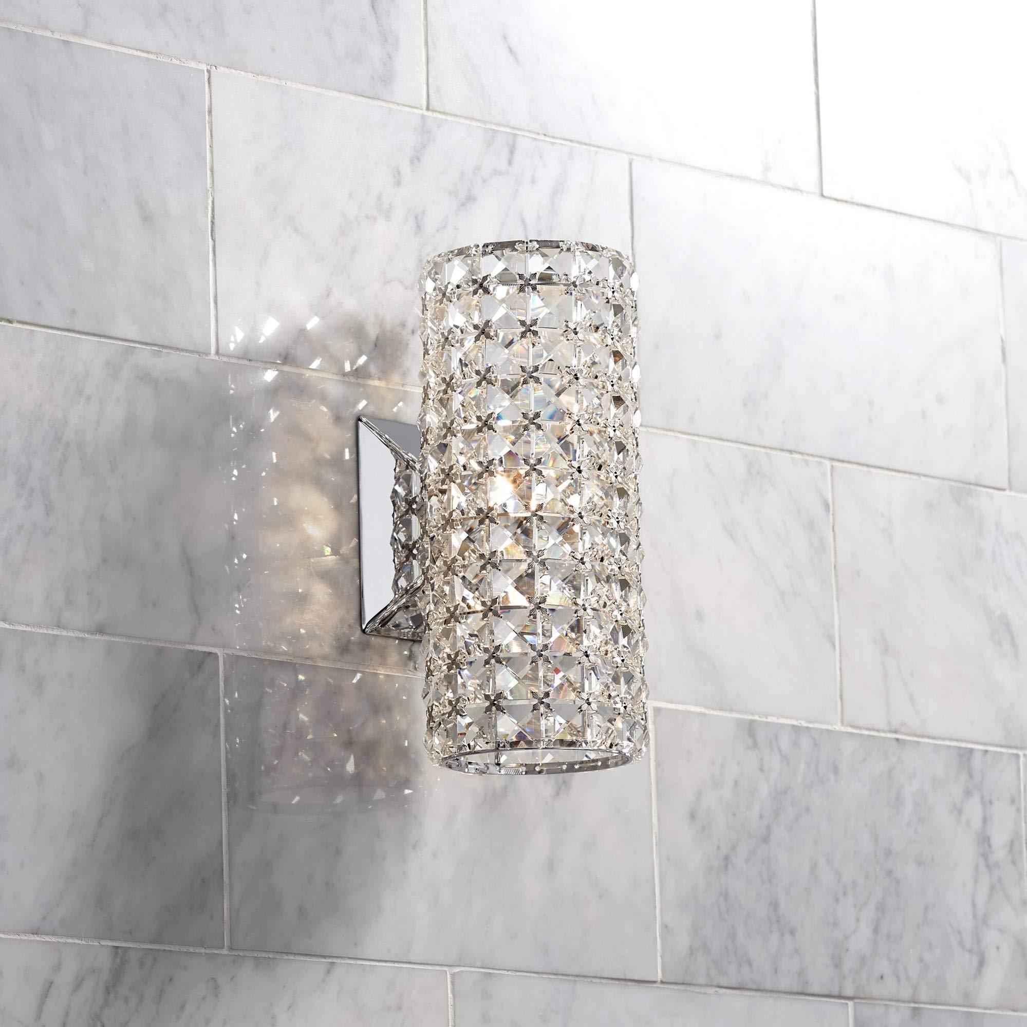 Bernadette 10 1/4'' High Crystal Cylinder Wall Sconce - Vienna Full Spectrum