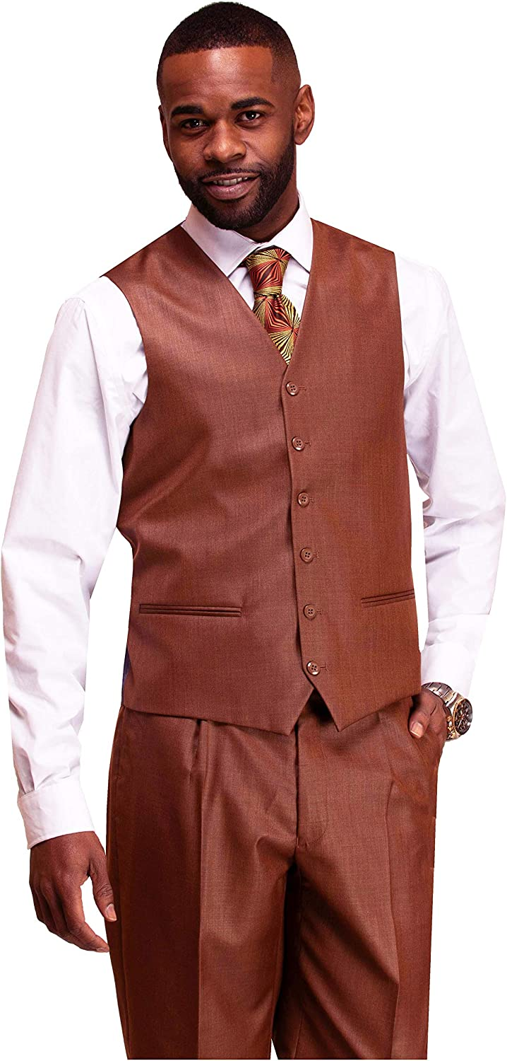DANNY COLBY Mens 2 Button Latte//Cappuccino//Light Beige Vested Suit Modern FIT 3PC