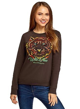 oodji Ultra Mujer Suéter con Bordado Tigre: Amazon.es: Ropa y ...