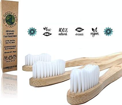 Cepillos de Dientes de Bambú Orgánicos Ecológicos y Biodegradables • Cepillo de Madera Reciclable Natural Sostenible ...