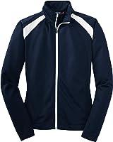Sport-Tek Ladies Tricot Track Jacket, True Navy/White