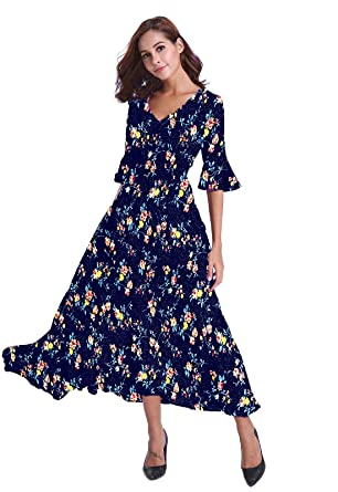 e0aee5d9fc6 buenos ninos Women s Floral Printed Half Sleeve V Neck High Waist Chiffon Long  Maxi Dress Navy Floral XXL  Amazon.co.uk  Clothing