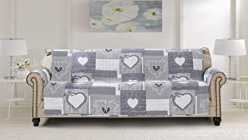 Large Patchwork Sofa Protector Slipcover 78 Inch Heart Love Pet Dog 3 Seat Couch Furniture Cover Print Reversible Quilted Layers, Enhanced Strap, ...