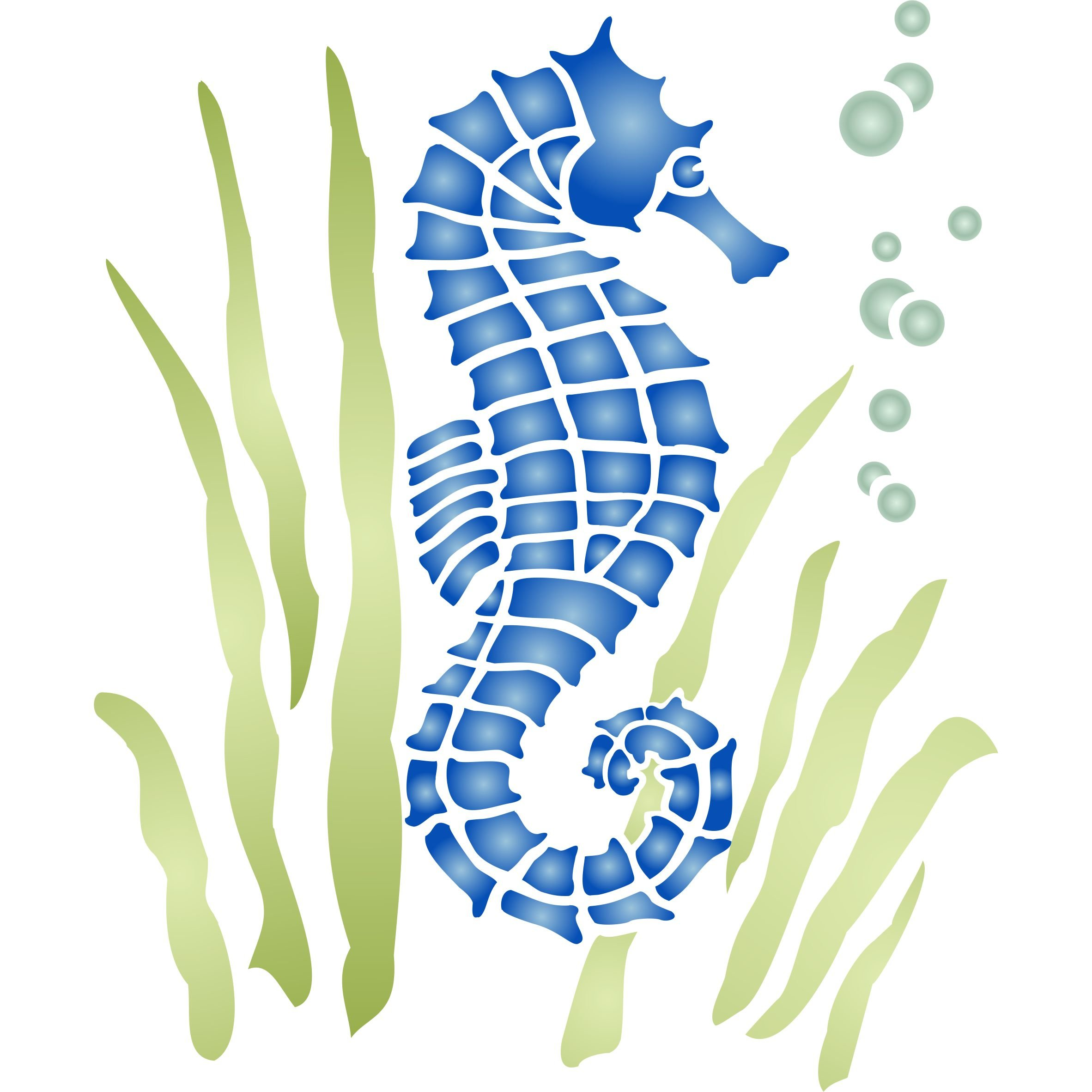 Seahorse Stencil (size 7.5'' w x 8.5'' h) Reusable Sea Ocean Nautical Seashore Reef Stencils for Painting - Use on Paper Projects Walls Floors Fabric Furniture Glass Wood etc.