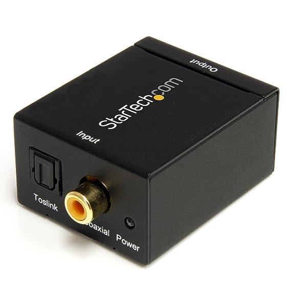 StarTech SPDIF2AA - Cable coaxial (conversor de toslink a RCA), Negro