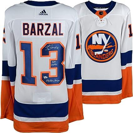 best loved f29bd cb047 Mathew Barzal New York Islanders Autographed White Adidas ...