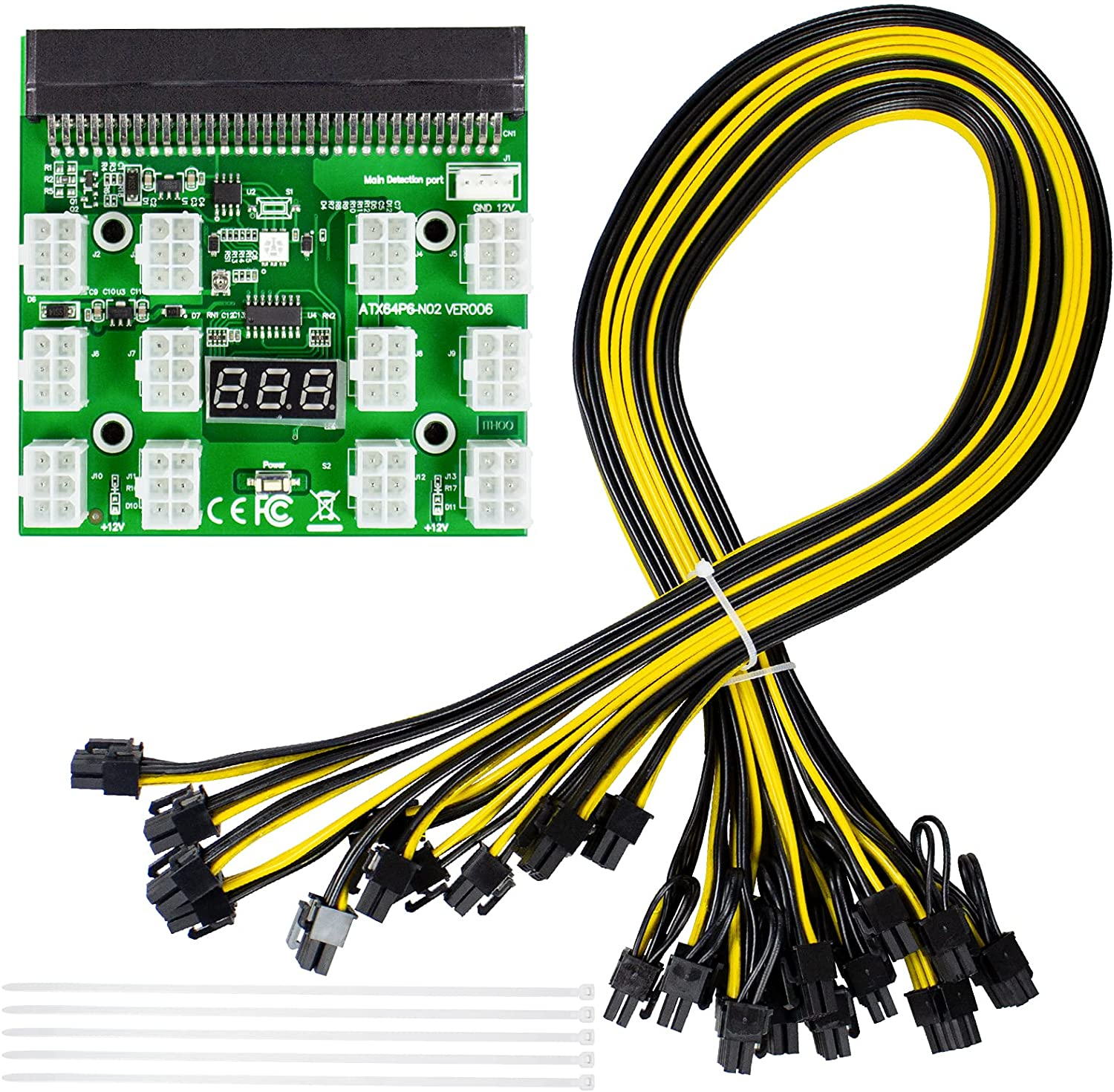 LXun Ethereum Mining ETH ZEC Power Supply 12V GPU/PSU Breakout Board for HP 1200w/750w Server PSU + 12pcs 16AWG PCI-E 6Pin to 6+2Pin Cables 27.5Inch Length(70CM, with 5 Nylon Cable Ties)