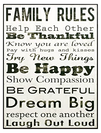 Attirant Black And White Be Thankful Family Rules 16 X 12 Wood Wall Art Sign  Decoration